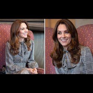 Zara printed dress w/belt worn by Kate Middleton